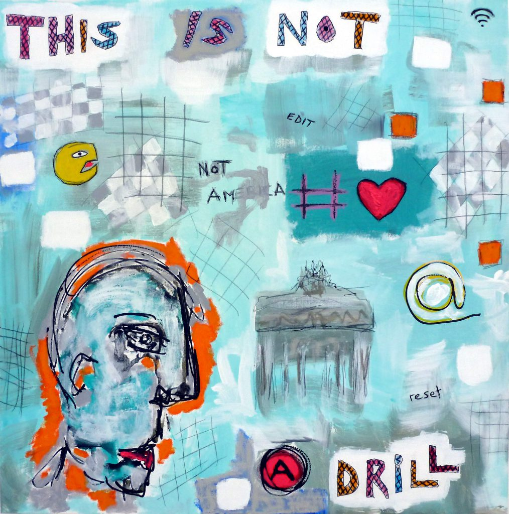 Not a Drill, 80 x 80cm, mixed media on canvas, 2016