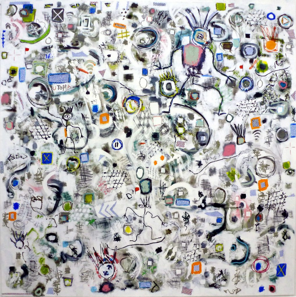 Click to Close, 180 x 180cm, mixed media on canvas, 2015