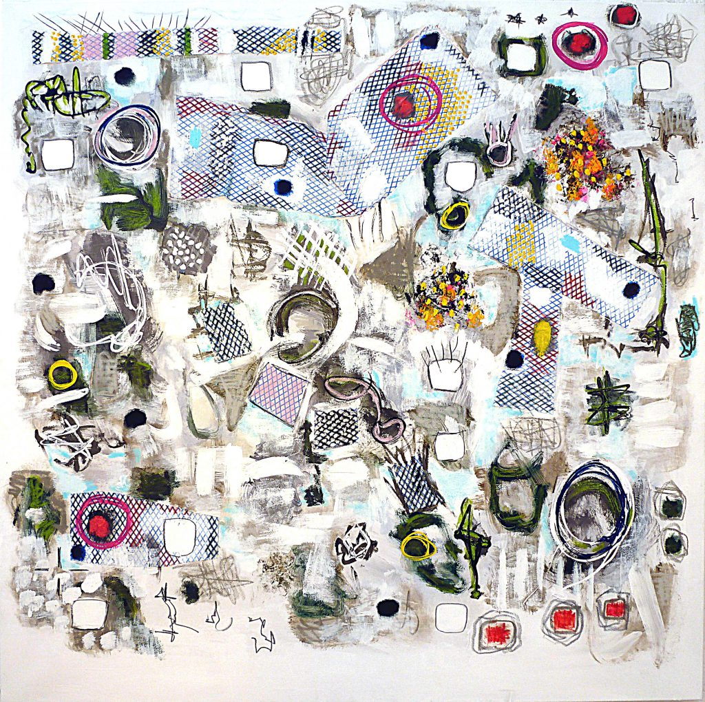 Echoes, 90 x 90cm, mixed media on canvas, 2015