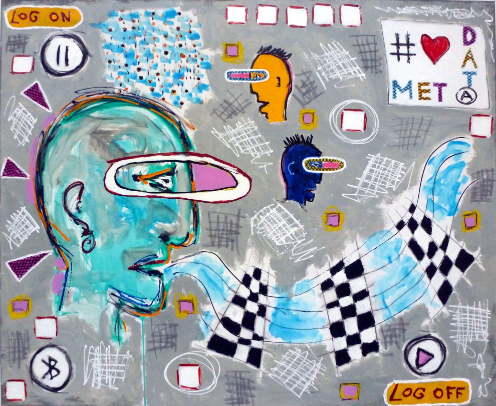 Meta Data, 100 x 120cm, mixed media on canvas, 2016