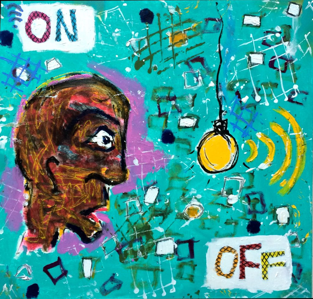 Switch On/Off, 60 x 60cm, mixed media on canvas,