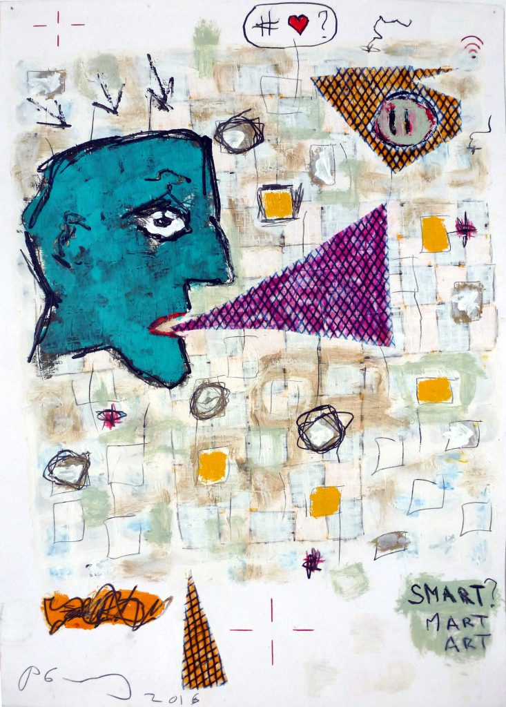 Smart Art, 70 x 50cm, mixed media on paper, 2016